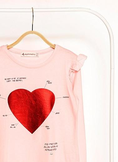 Morhipo Kids Kolları Fırfır Detaylı Kalp Baskılı Sweatshirt Pembe